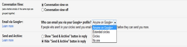 turn off Google+ Email